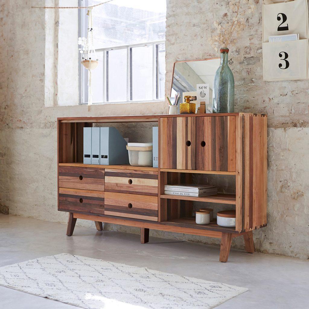 BROOKLYN újrahasznosított fa könyvespolc 180