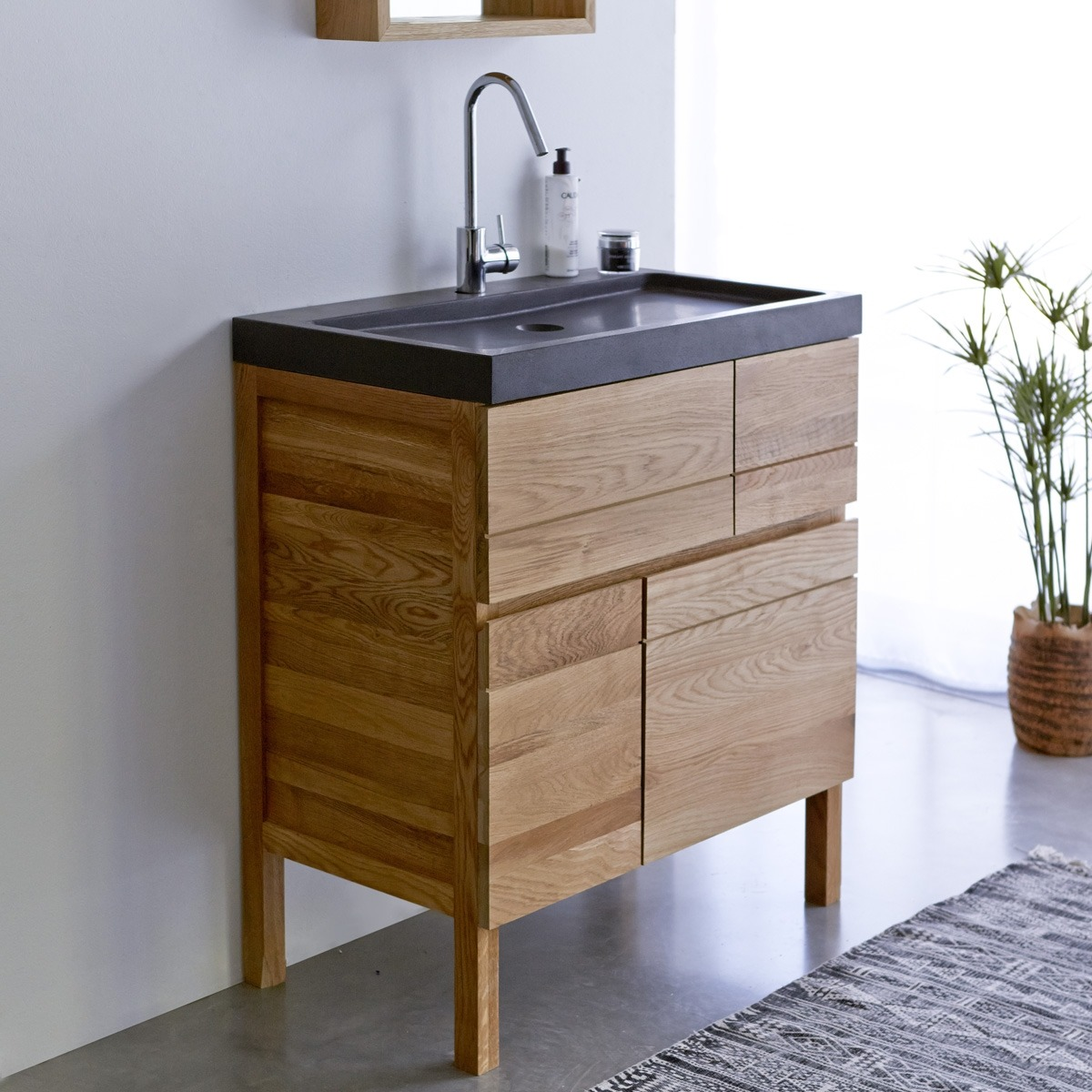 EASY tölgyfa és lávakő fürdőszoba szekrény 80