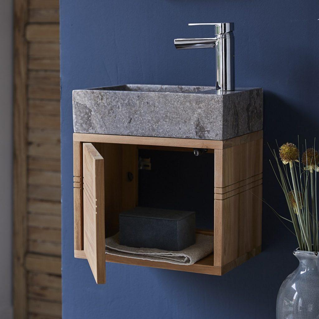 BASIC teakfa fürdőszoba szekrény szürke márvány mosdóval