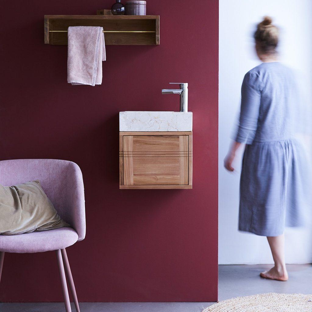 BASIC teakfa fürdőszoba szekrény krémszínű márvány mosdóval