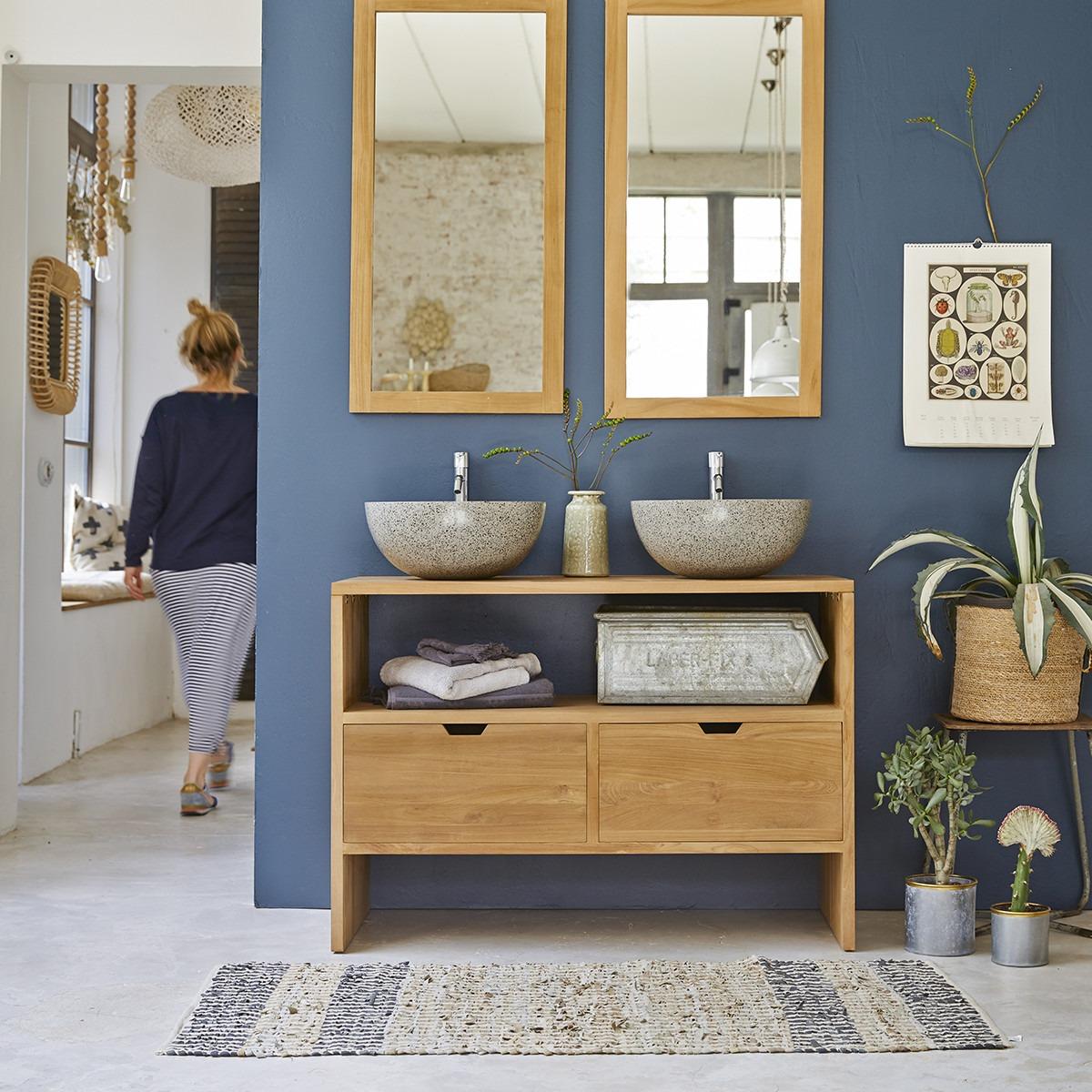 KWARTO teakfa fürdőszoba szekrény, fiókos 110