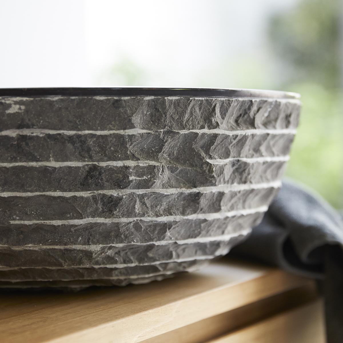 SCRULA BAMORO márvány mosdó,kerek, szürke