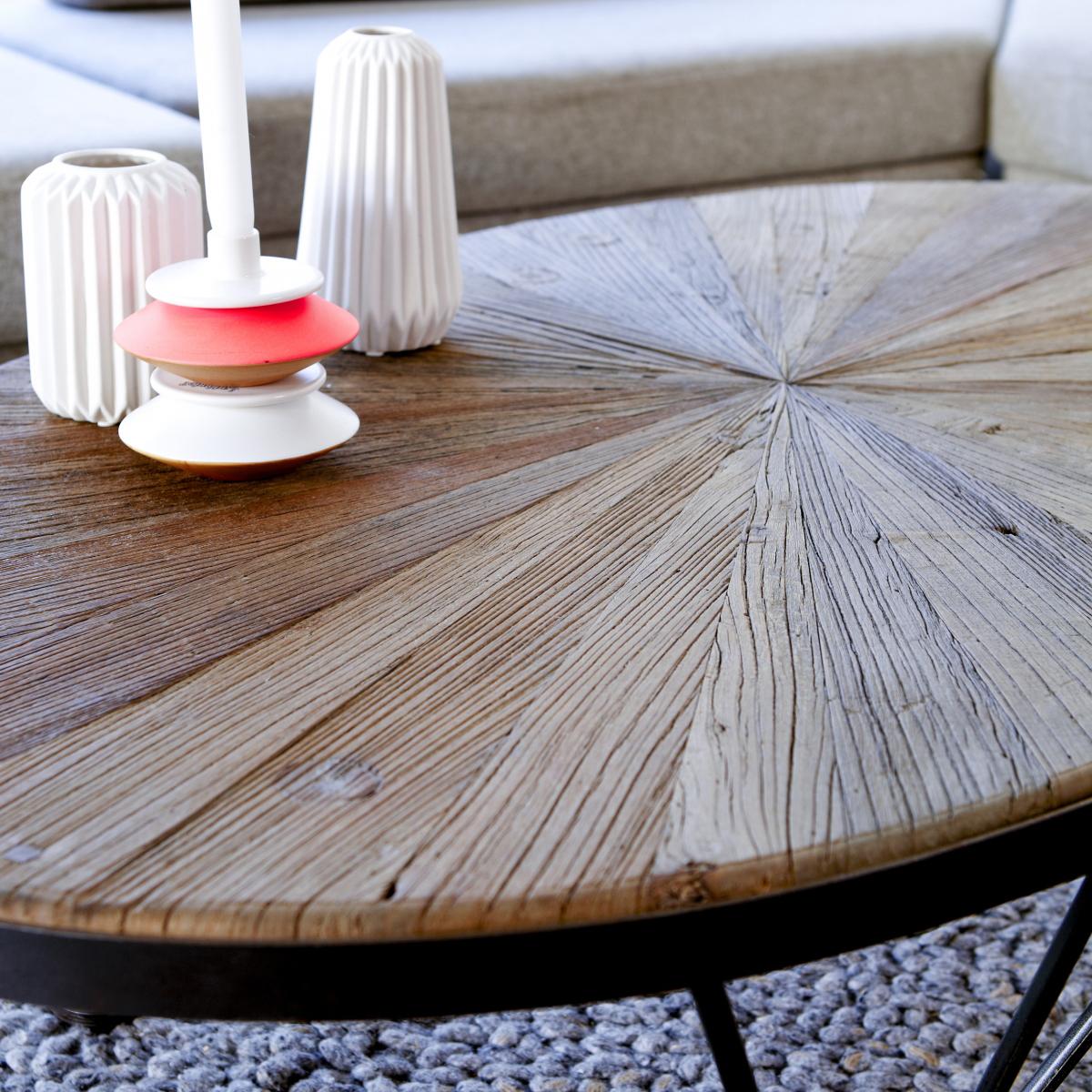 LANCELOT szilfa és fém dohányzó asztal