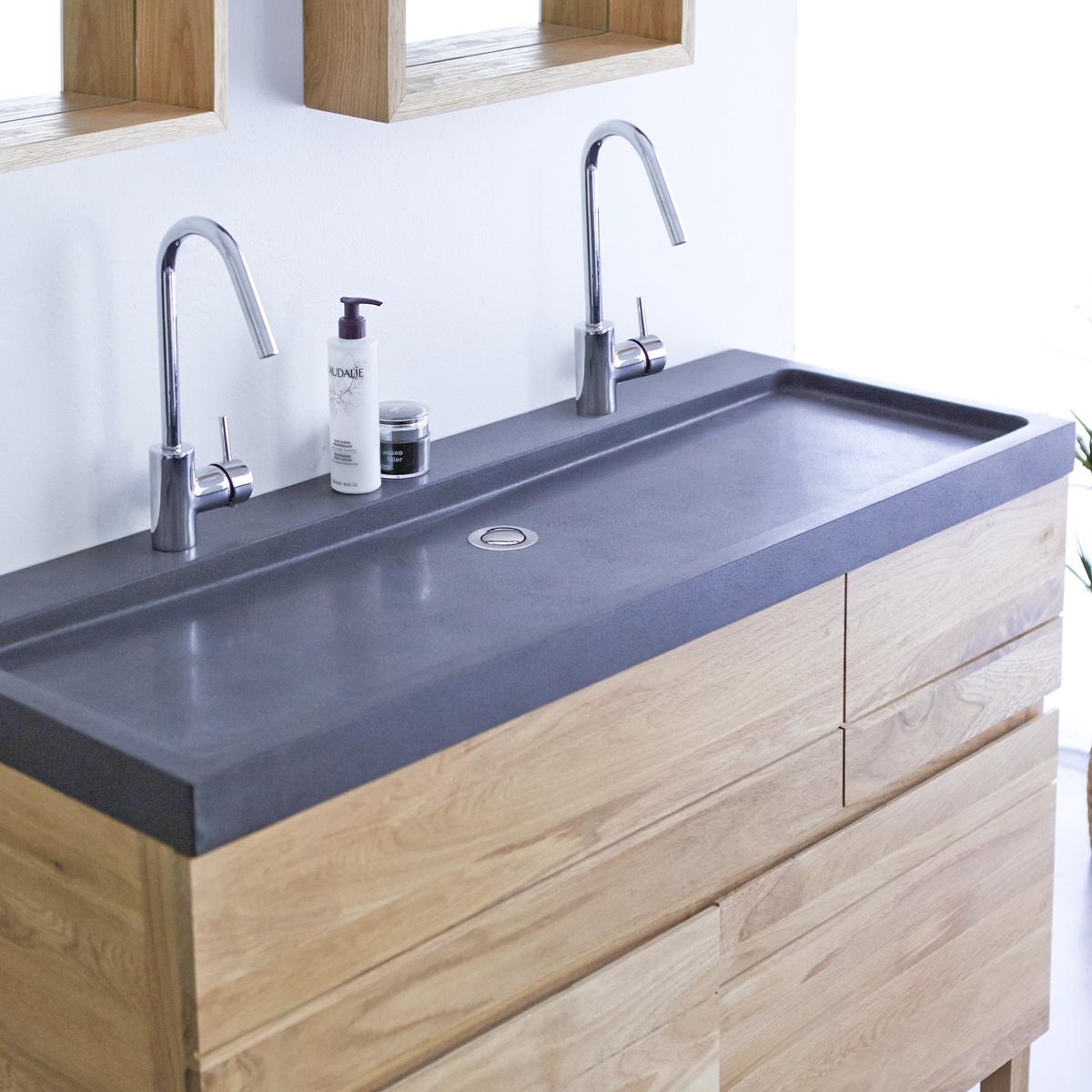 EASY tölgyfa fürdőszoba szekrény dupla lávakő mosdóval 120