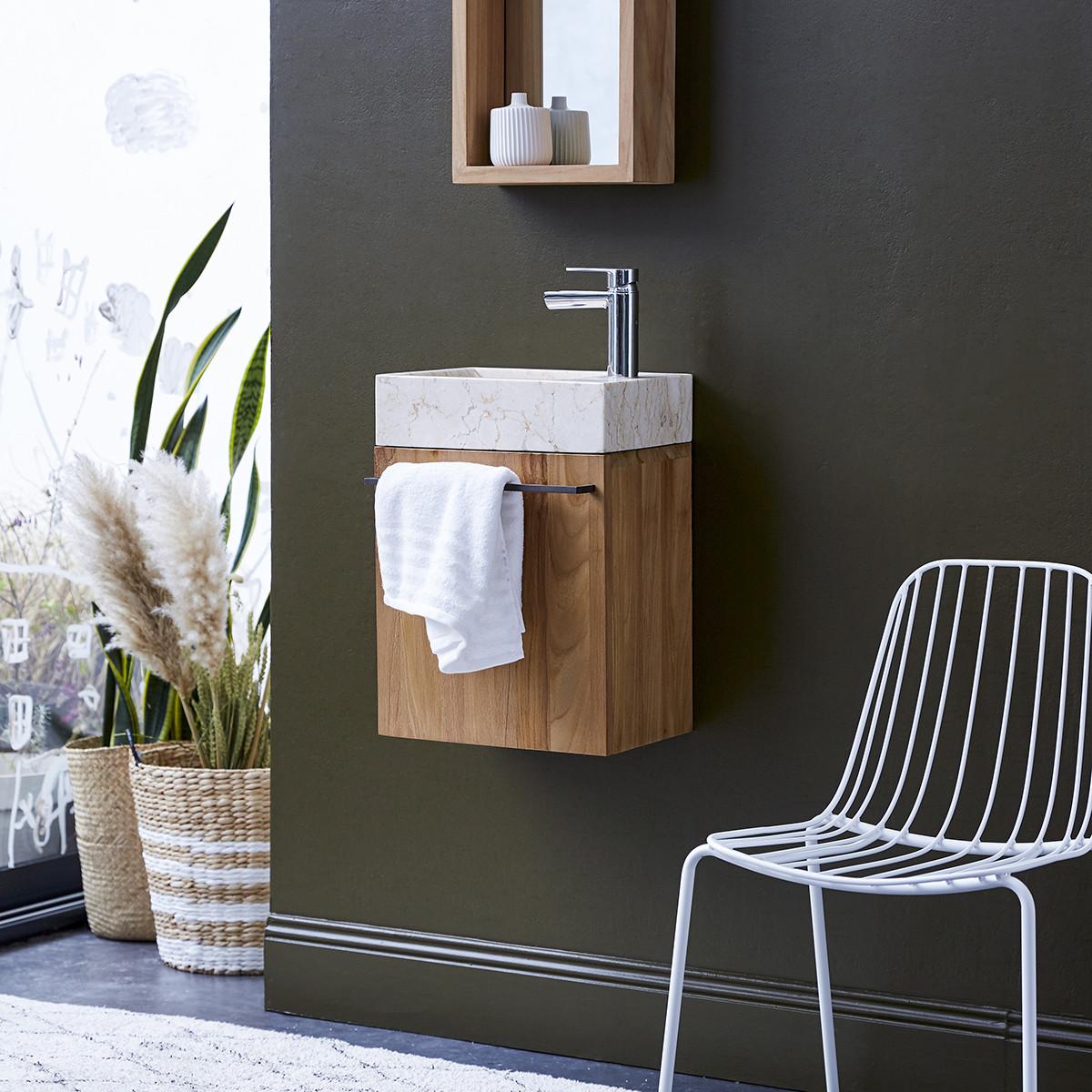 STELLE teakfa és márvány szekrény krémszín