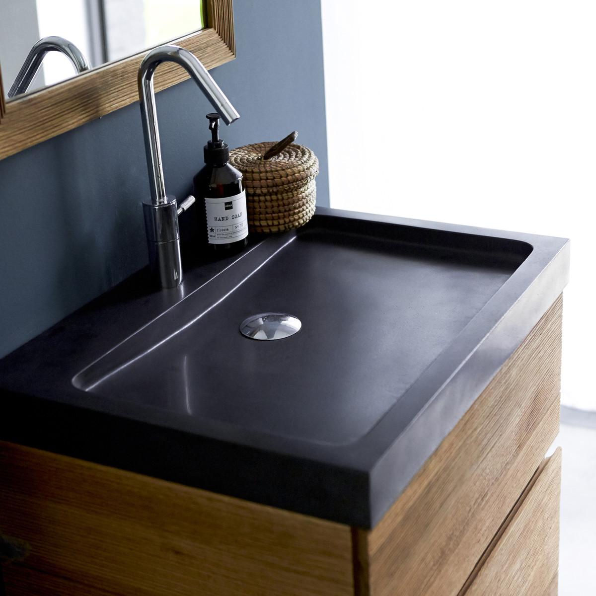 KARL tölgyfa mosdószekrény lávakő mosdóval 60