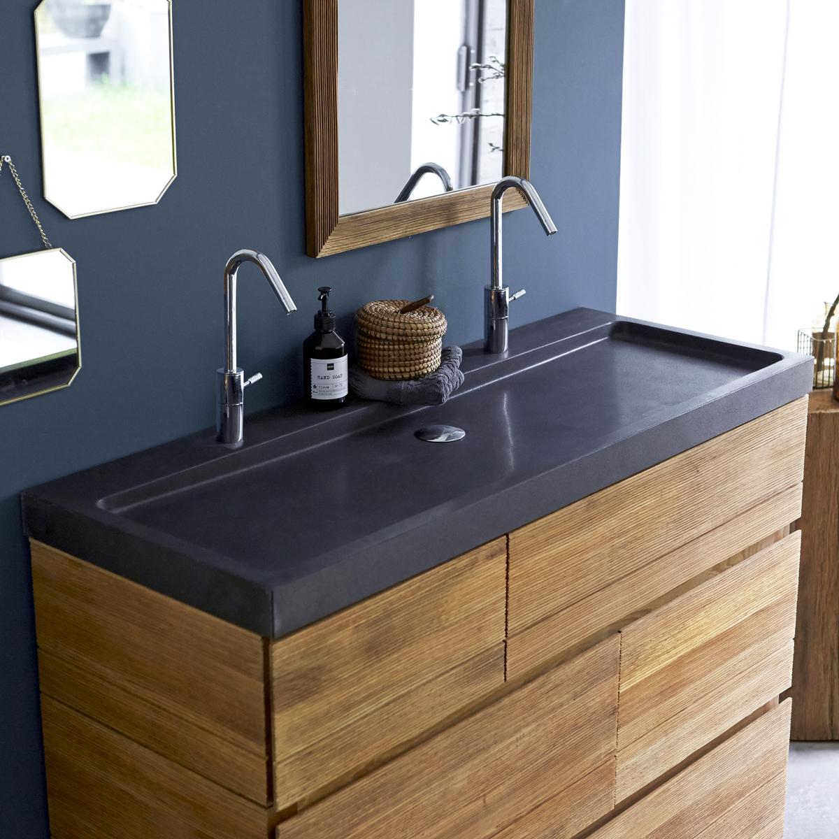 KARL tölgyfa mosdószekrény lávakő mosdóval 120