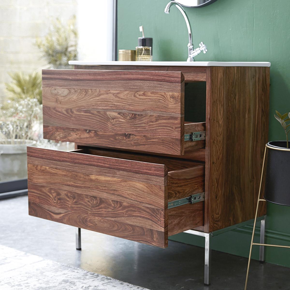 NOVA rózsafa fürdőszobai szekrény kerámia mosdóval 80