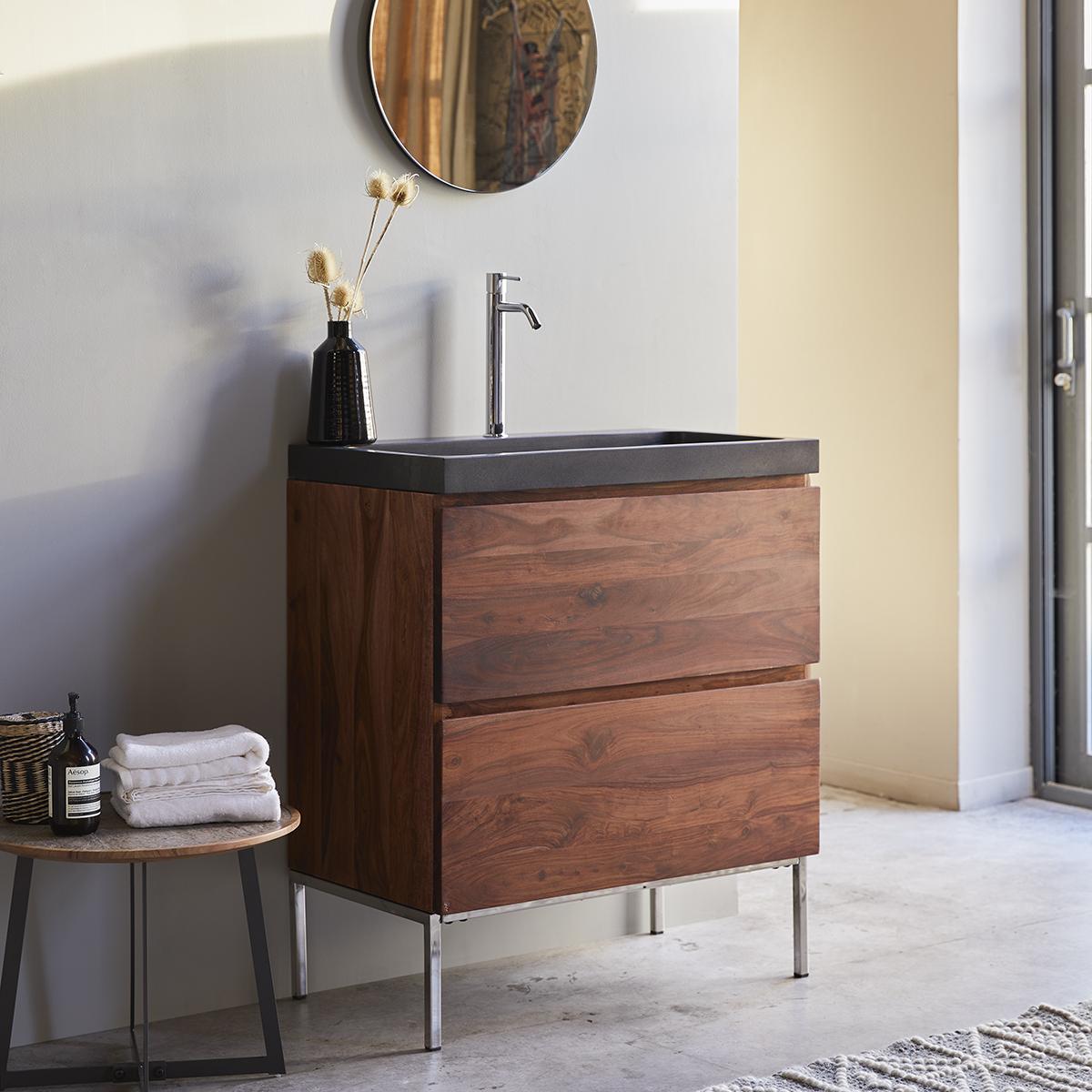 NOVA rózsafa fürdőszobai szekrény lávakő mosdóval 80
