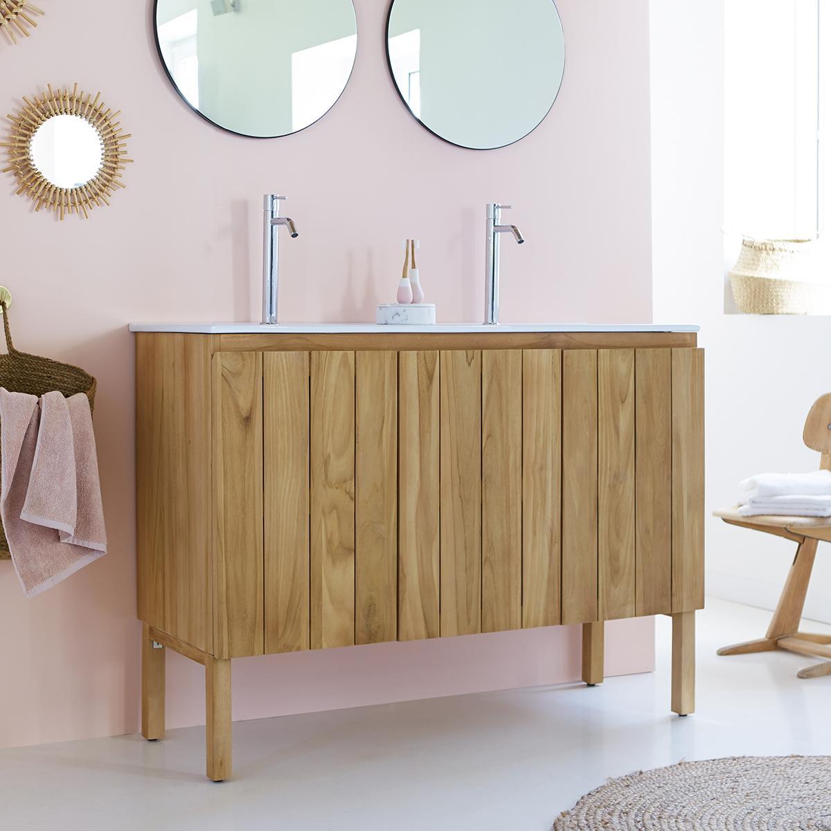 JILL teakfa és kerámia fürdőszoba szekrény 120