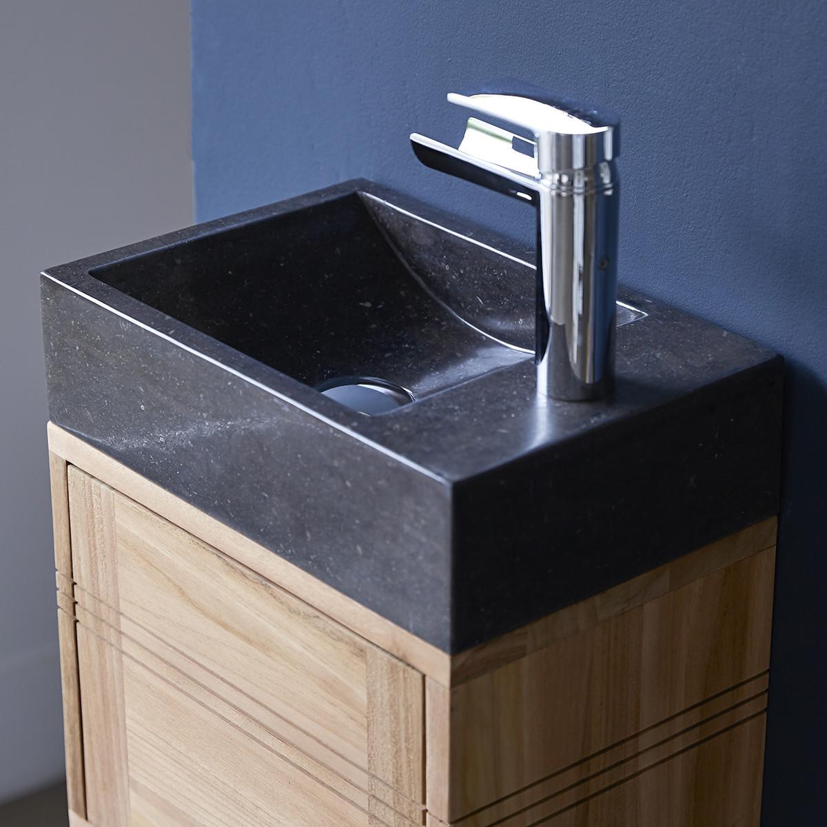 BASIC teakfa fürdőszoba szekrény fekete márvány mosdóval