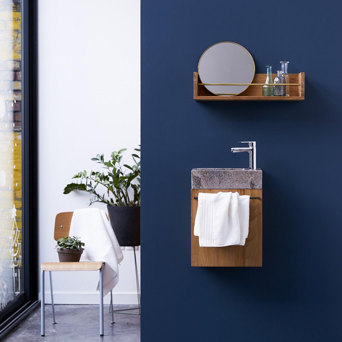 STELLE teakfa és márvány szekrény szürke