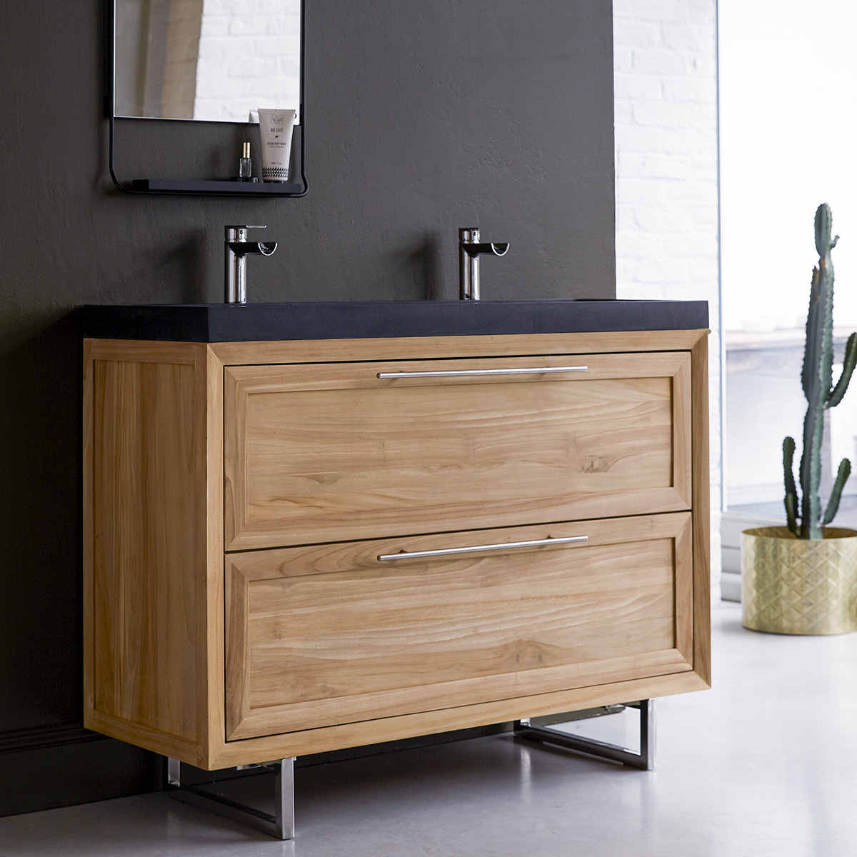 WAVE 120 teakfa és lávakő fürdőszoba szekrény 120