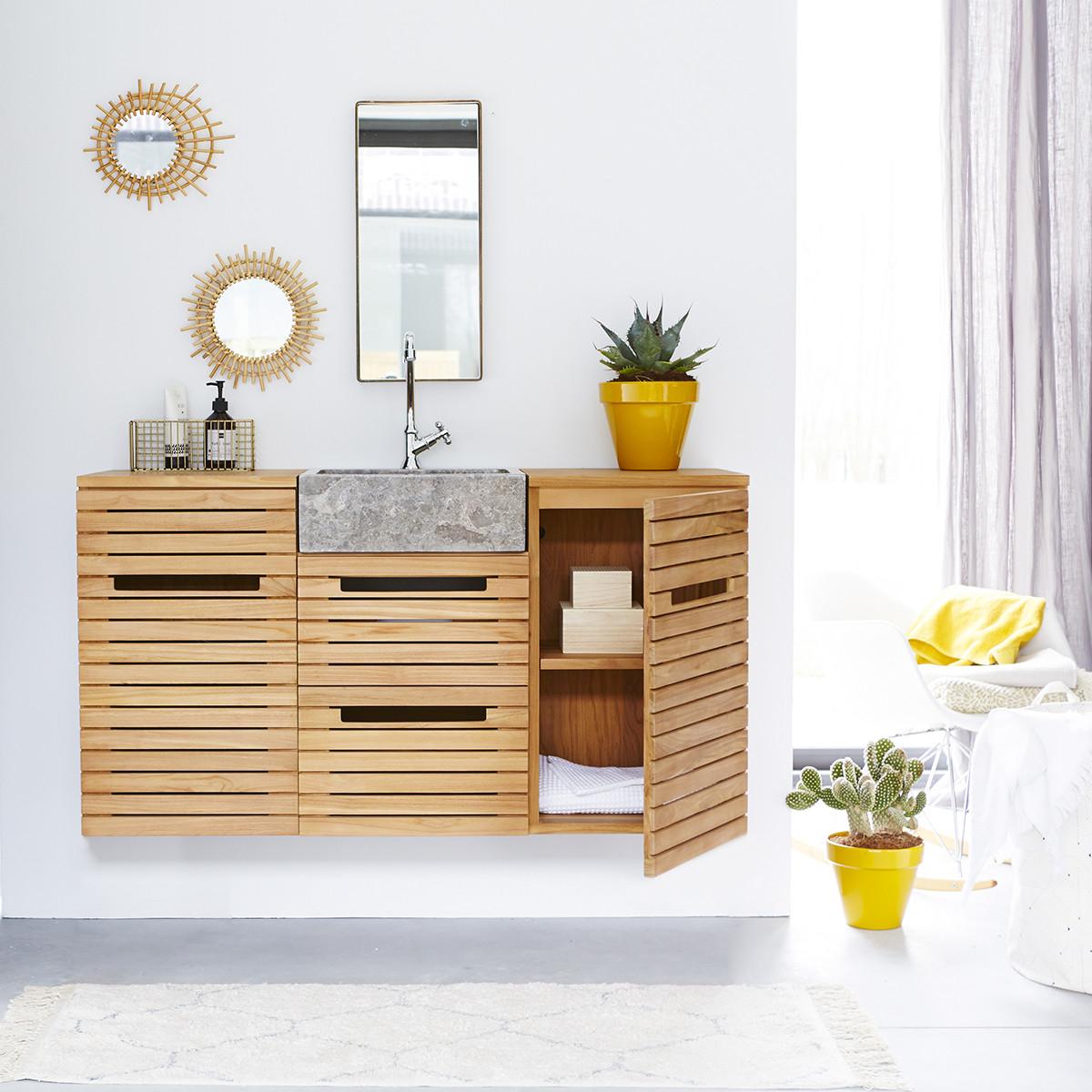 SLATS teakfa és márvány fürdőszoba szekrény, keskeny 125