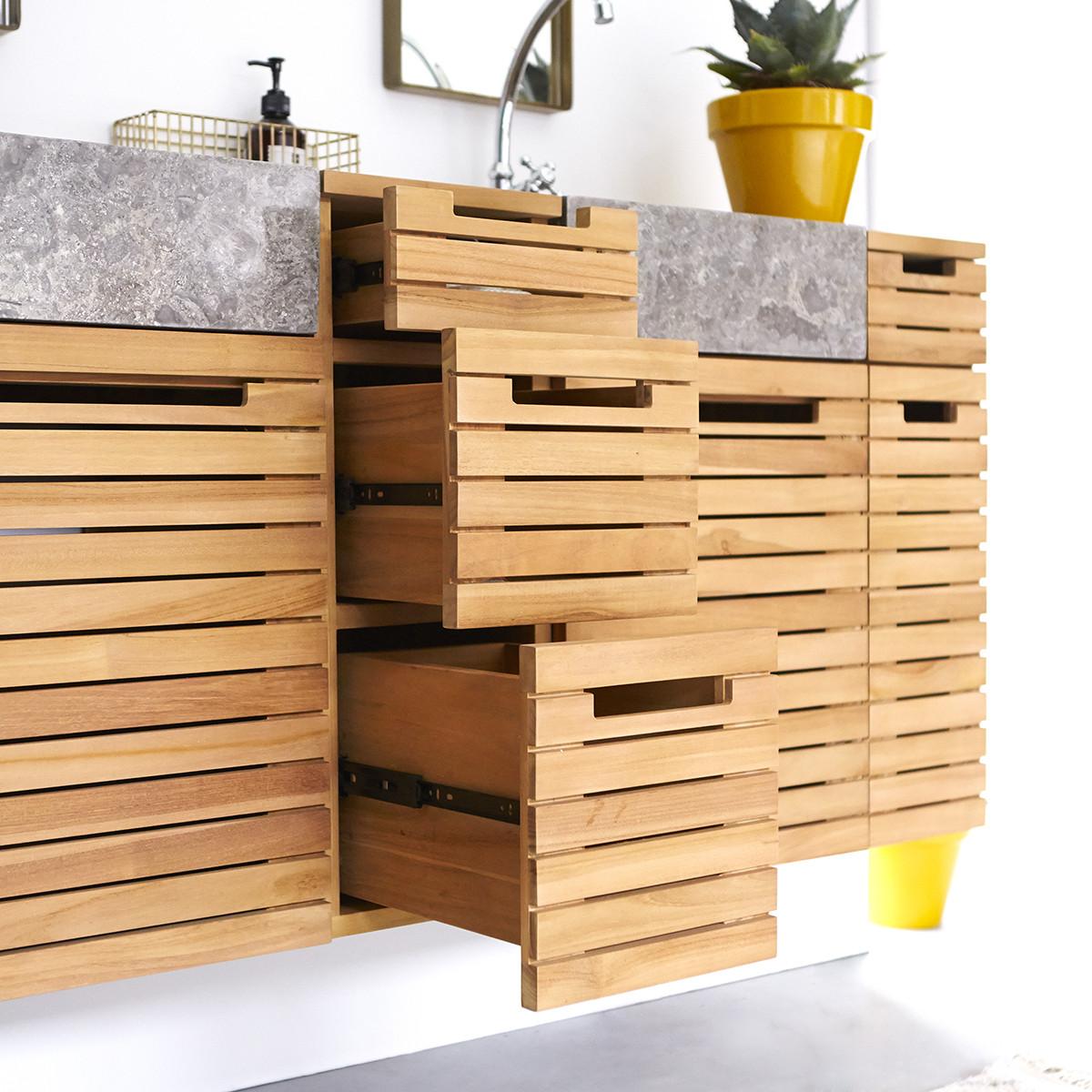 SLATS teakfa és márvány fürdőszoba szekrény, keskeny 150