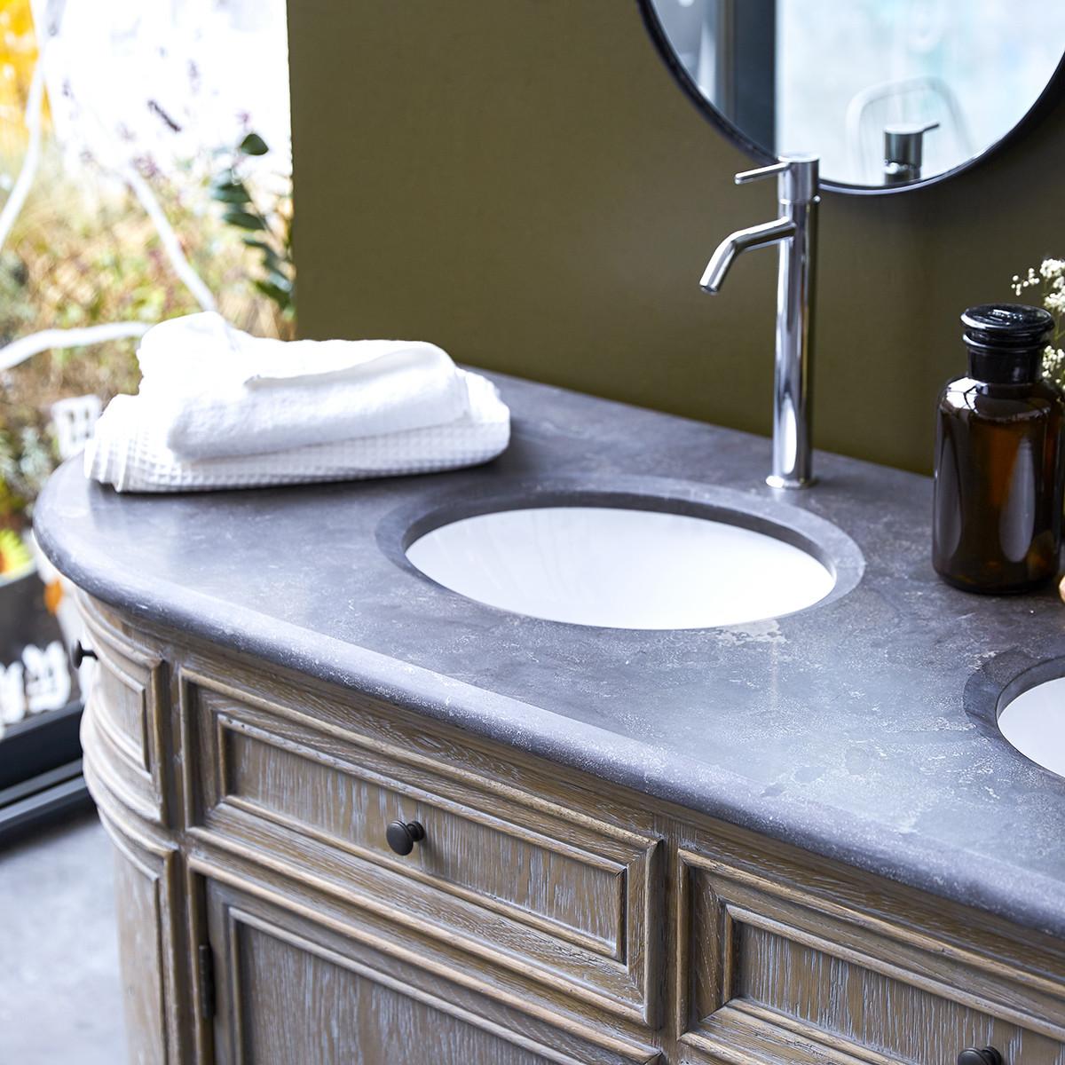 LOUISE tölgyfa fürdőszoba szekrény dupla mosdóval 180