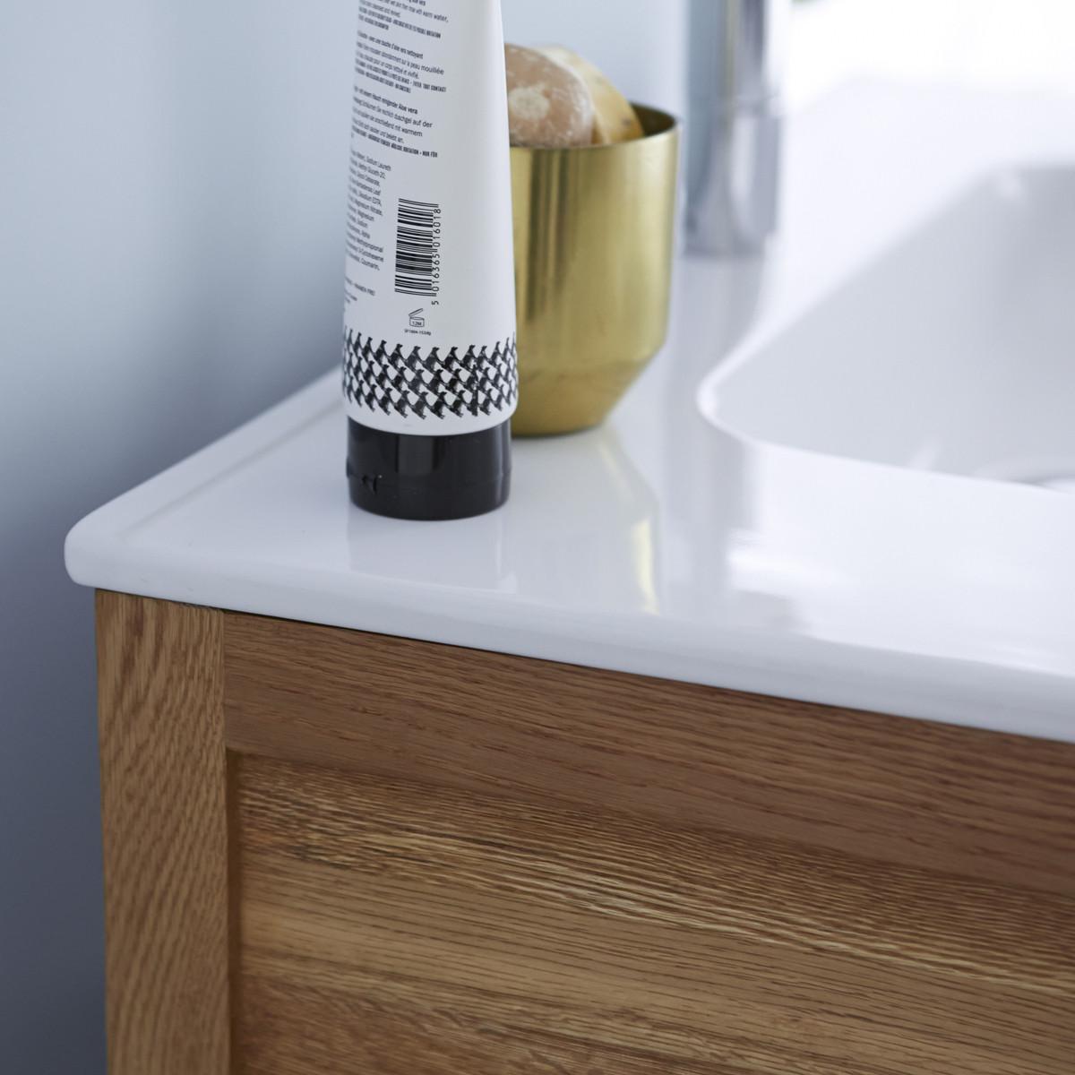 EASY tölgyfa és kerámia fürdőszoba szekrény 80