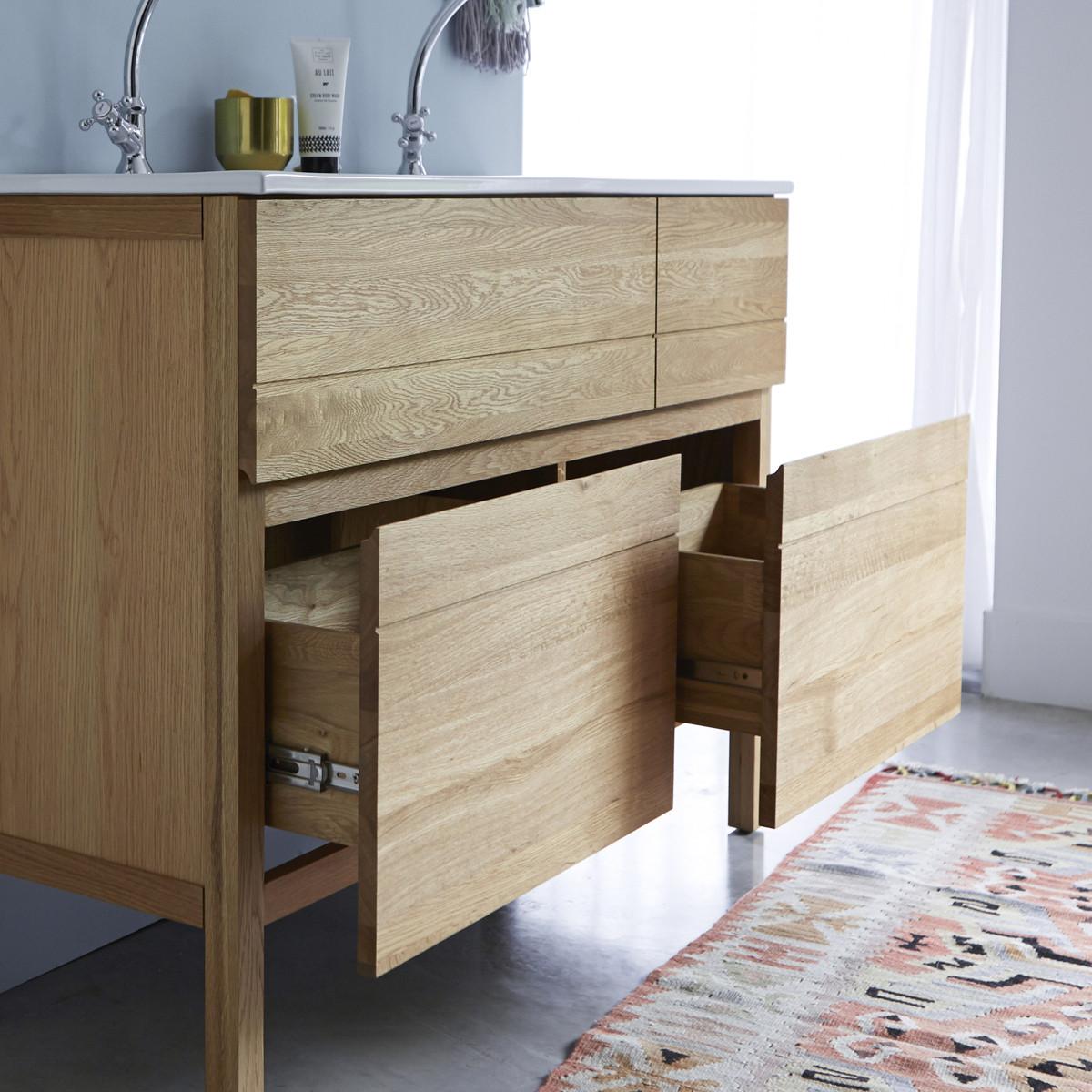 EASY tölgyfa fürdőszoba szekrény dupla kerámia mosdóval 120